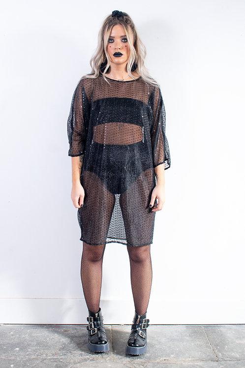 Black Sequin Batwing Dress