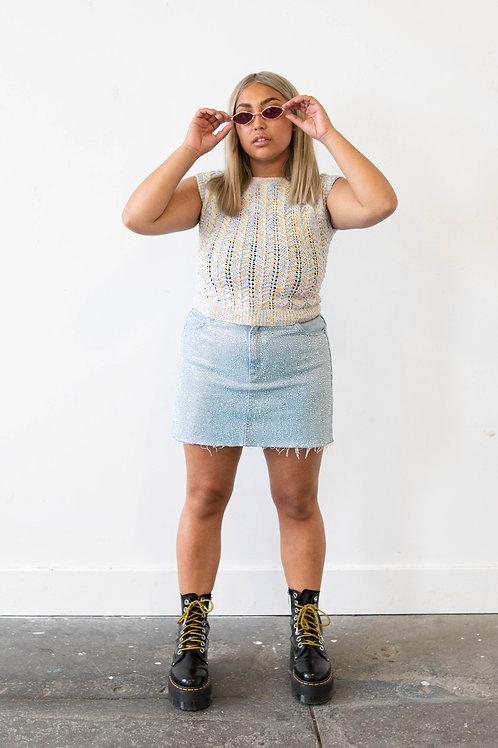 Pastel Rainbow Crochet Sweater Vest