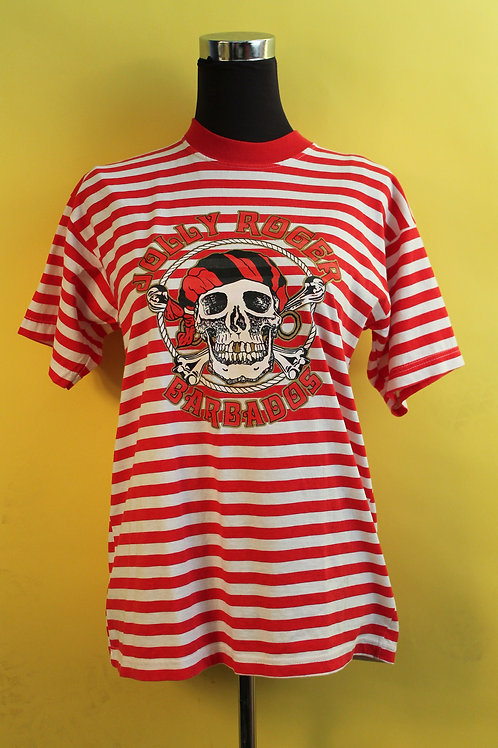 1980s Vintage Red Stripe Graphic T-shirt