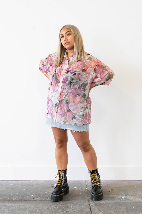 Sheer Shirt in Floral Print