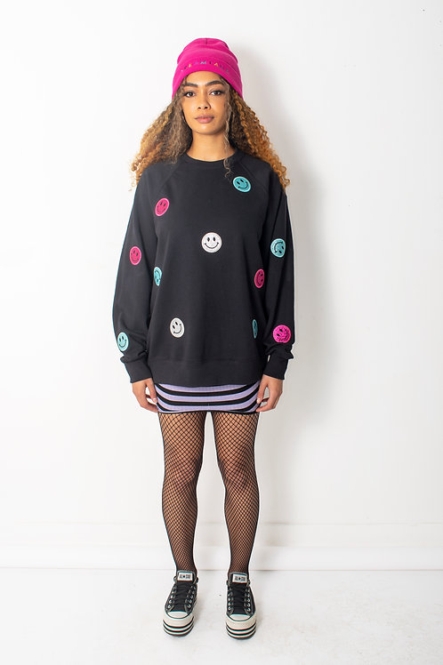 Smiley Glitter Patch Oversized Sweatshirt Dress