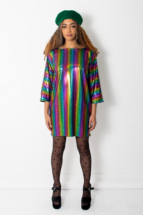 Rainbow Stripe Metallic Batwing Dress