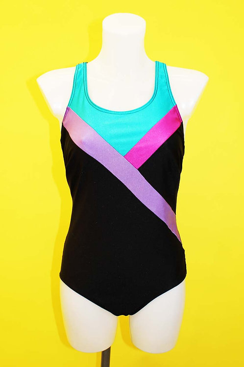 Black Contrast Stripe Swimsuit