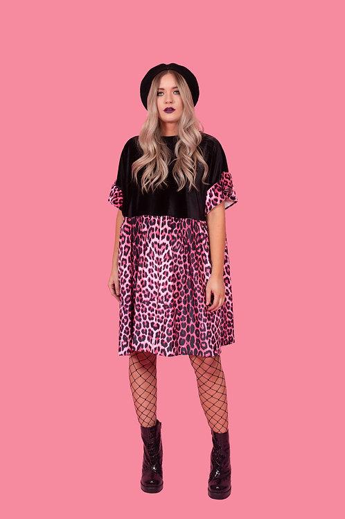 Candy Pink Leopard Print Kelly Dress [Leopard Skirt]