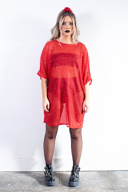 Red Sequin Batwing Dress