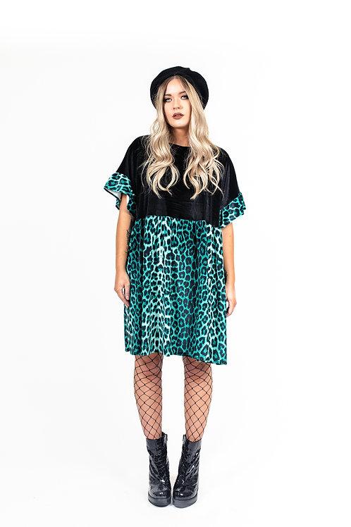 Ocean Green Leopard Print Kelly Dress [Leopard Skirt]