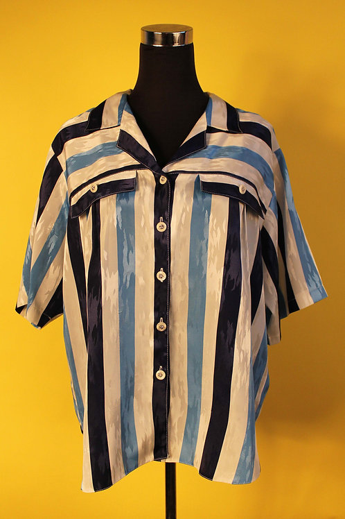 1980s Vintage Sailor Striped Blue Shirt