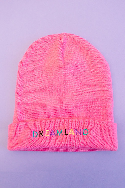 Baby Pink Dreamland Embroidered Beanie