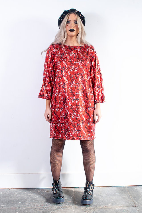 Red Metallic Batwing Dress