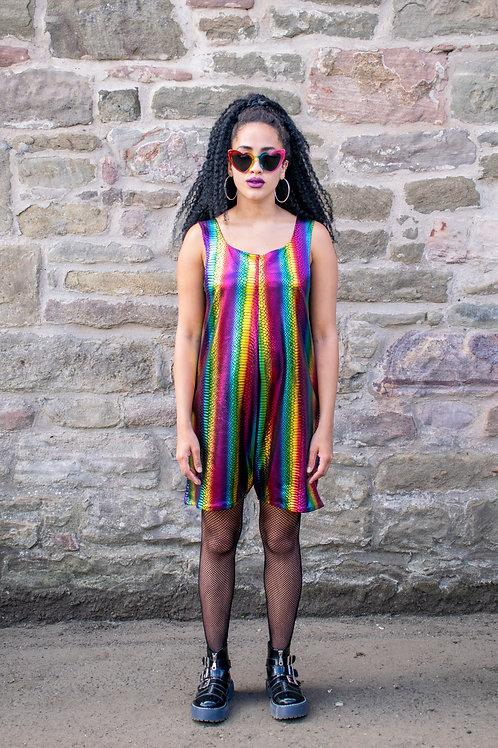Dreamland Metallic Rainbow Playsuit With Crocodile Texture