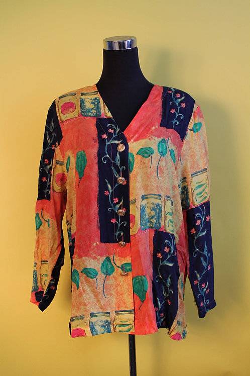 1980s Vintage Patchwork With Florals Shirt