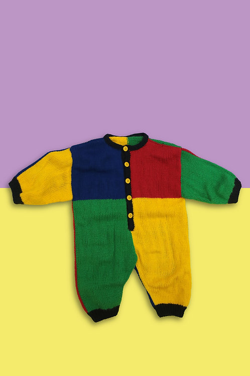 Colour Block Knitted Babygrow