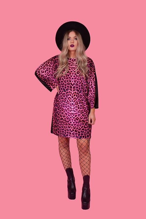 Candy Pink Leopard Print Batwing Dress