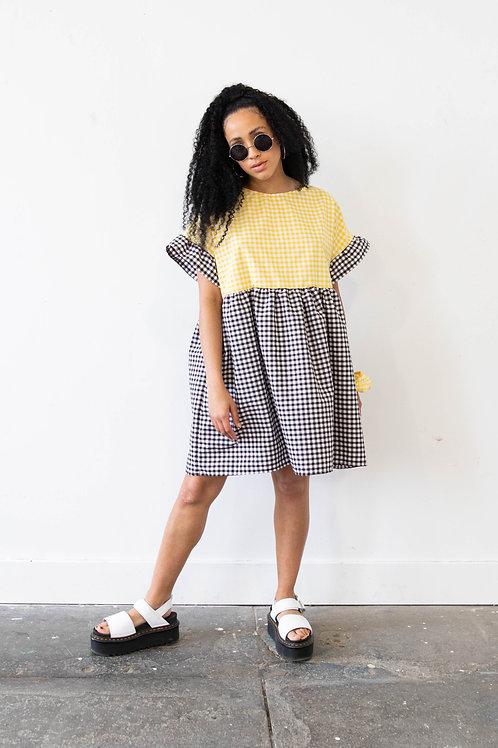 Medium-Scale Gingham Black and Yellow Colour Block Kelly Dress – Black Main