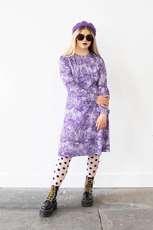 Purple Midi Dress in Abstract Floral and Polka Dot Print