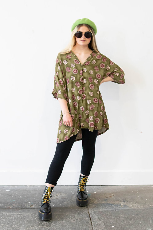 Vintage Oversized Abstract Flower Shirt