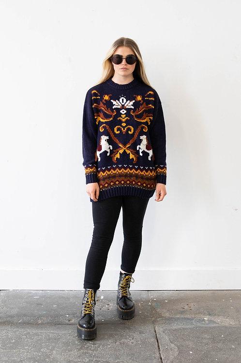 Navy Horse Design Knitted Jumper