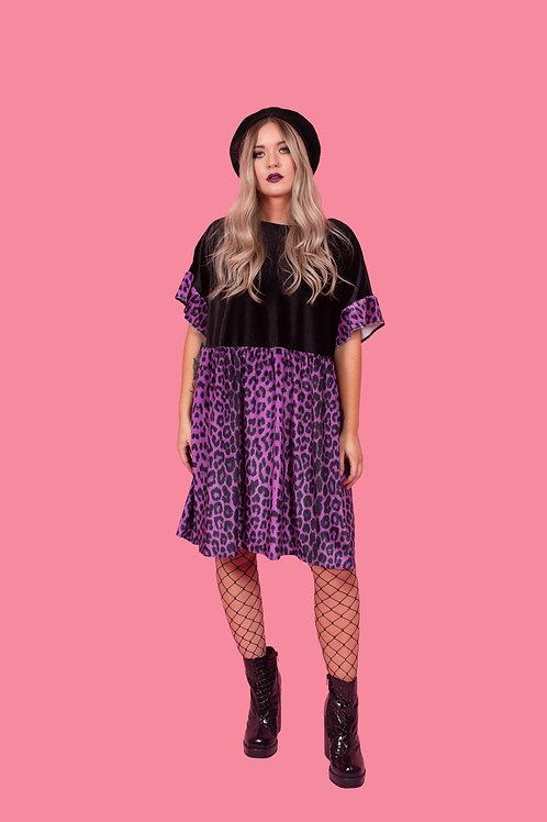 Deep Purple Leopard Print Kelly Dress [Leopard Skirt]