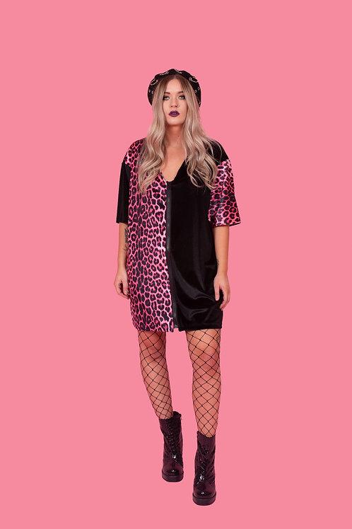 Candy Pink Leopard Print Zip Tee Dress