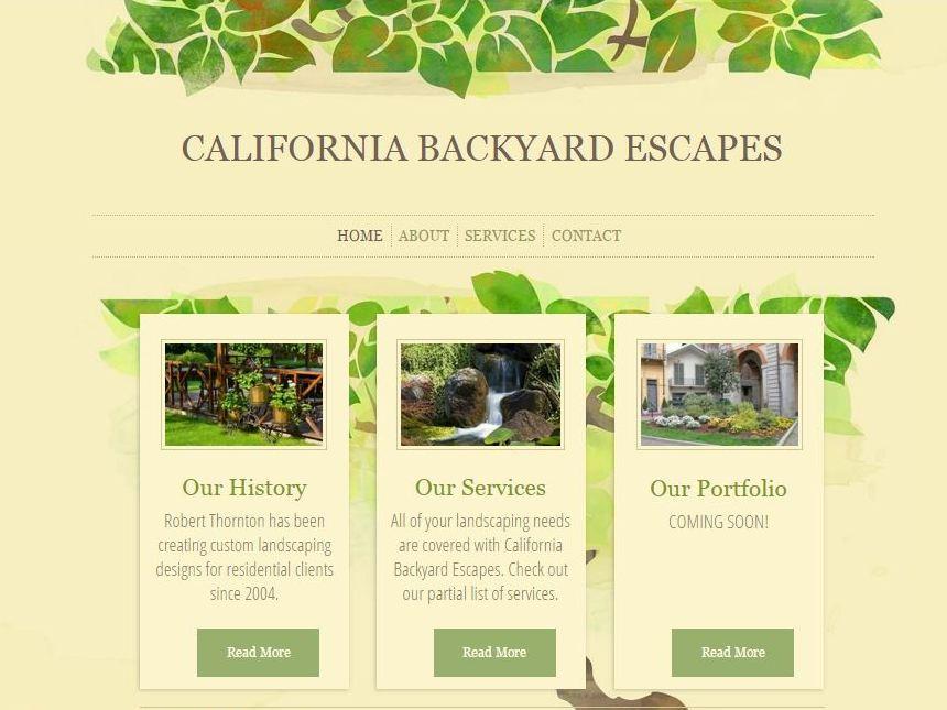 CA Backyard Escapes Home Screen
