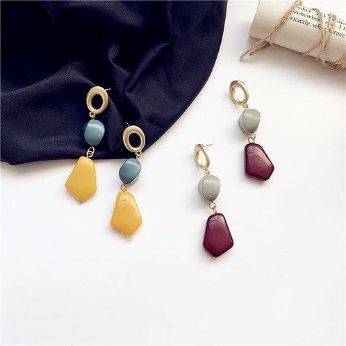 Acrylic Korea Contrast Color Earring