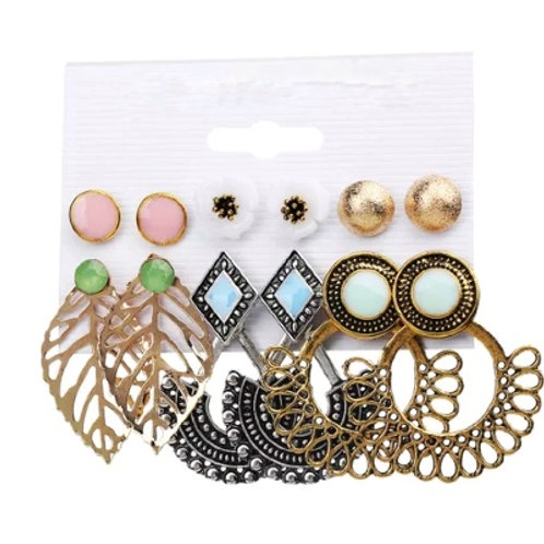 Gold Multi-styled Mixed Stud Drop 6 Pack