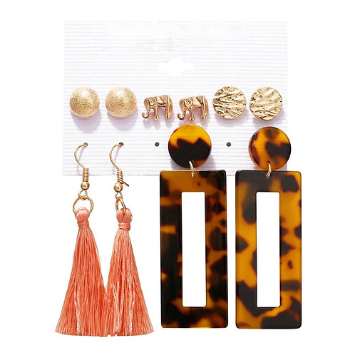 Gold Tassel Leopard Acrylic Mixed Stud Drop 5 Pack