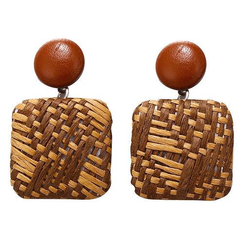 Raffia Square Earring - Brown