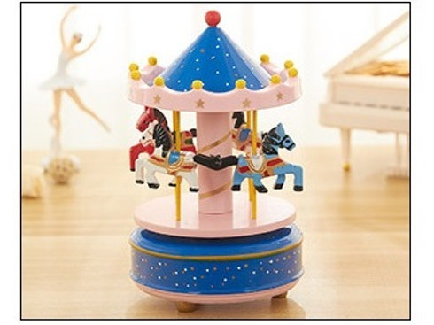 Carousel Musical Box - Blue & Pink