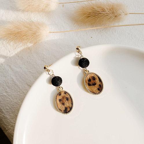 Leopard Oval Earring