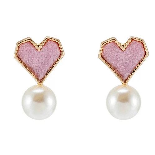 Pearl Love Stud Earring-Pink