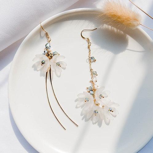 Crystal Flower Asymmetric Earring