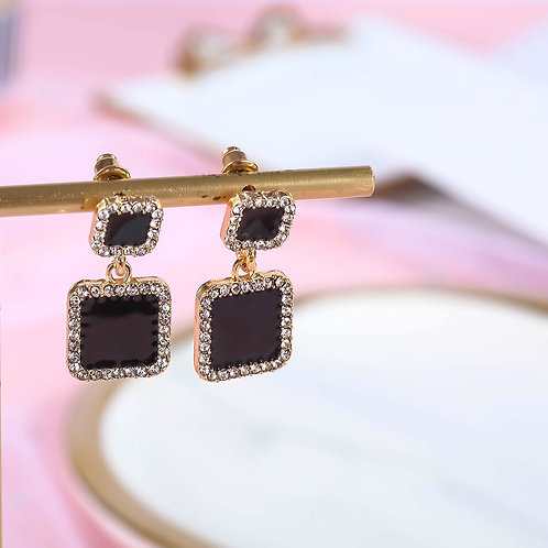 Black Rhinestone Square Earring