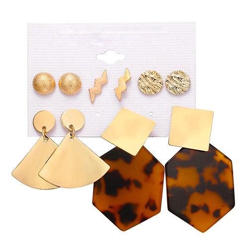Gold Leopard Acrylic Mixed Stud Drop 5 Pack