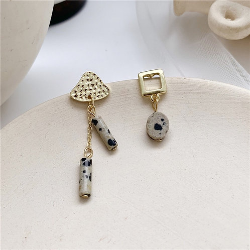 Natural Spotted Stone Asymmetry Earring