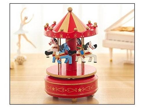 Carousel Musical Box - Red Flower