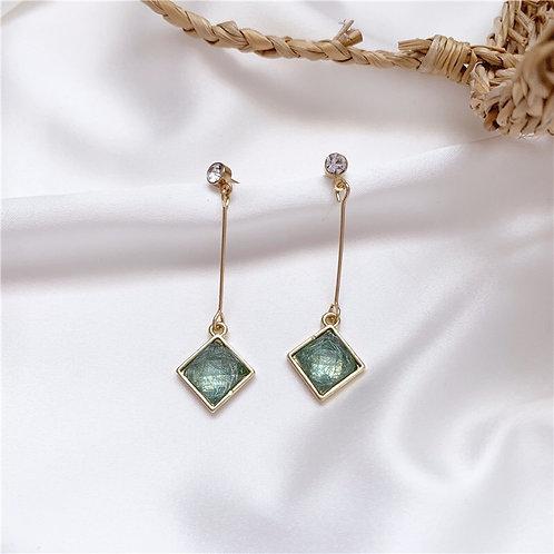 Green Crystal Drop Earring