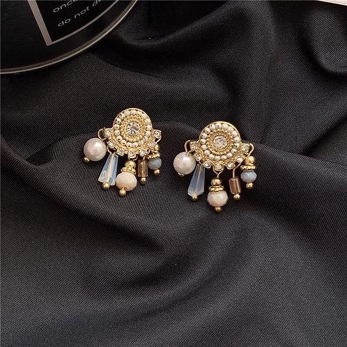 Crystal Pearl Pendant Earring
