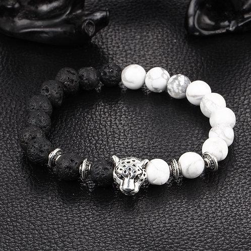 Leopard Bead Bracelet - Black & White