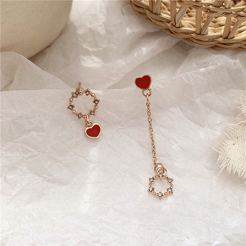 Zircon Asymmetric Heart Earring