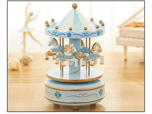 Carousel Musical Box - Light Blue Flower