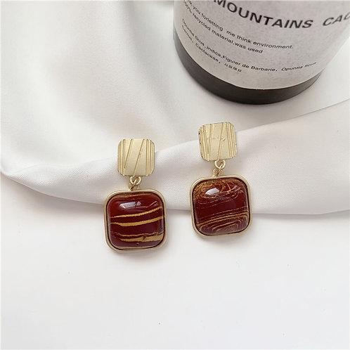 Baroque Burgundy Earring