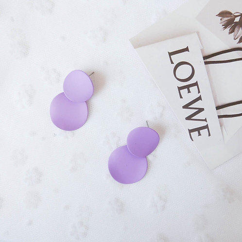 Macaron Contrast Color Disc Earring - Purple