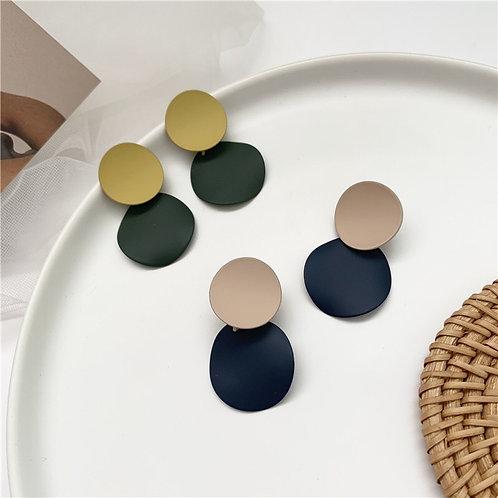 Macaron Contrast Color Disc Earring