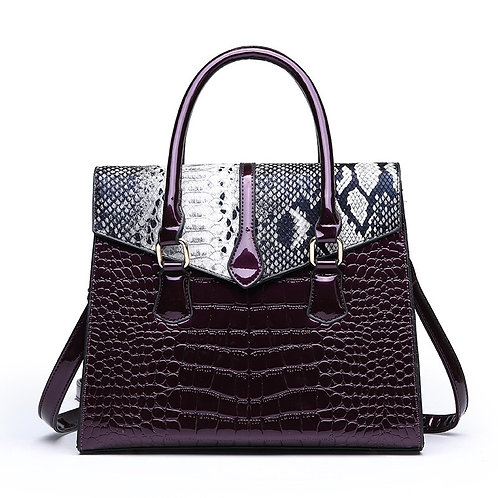 Croc-Effect Leather Bag