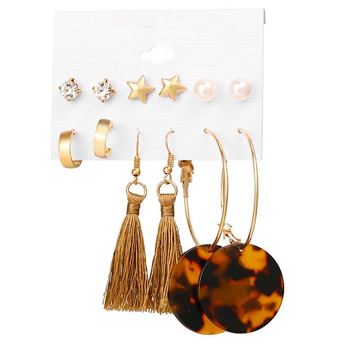 Gold Tassel Crystal Multi-styled Mixed Stud Drop 6 Pack