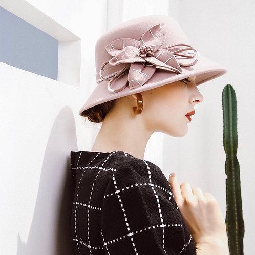 Floral Wool Hat-Pink