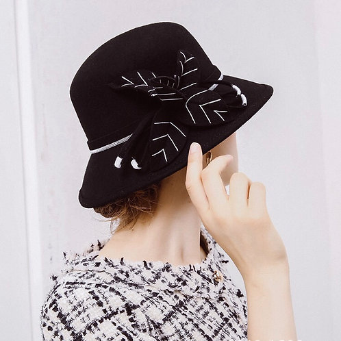 Floral Wool Hat-Black