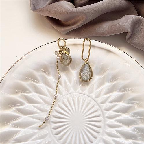 Crystal Zircon Pearl Asymmetry Earring