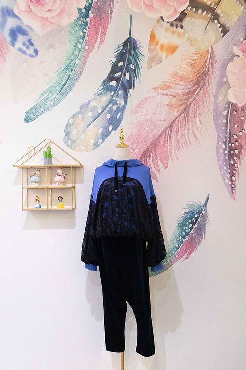 BALIJING Hooded Sweatshirt with Black Lace